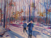 Cross-country Skiing Paintings - Skiing in Anthony Wayne 2 by Joyce Kanyuk