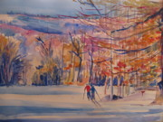 Cross-country Skiing Paintings - skiing in Anthony Wayne by Joyce Kanyuk