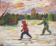 Park Scene Paintings - Skiing in the Park by Naomi Gerrard