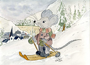 Wild Life Drawings - Skiing Mouse by Eva Ason