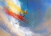 Ski Mixed Media Framed Prints - Skijumping 01 Framed Print by Miki De Goodaboom