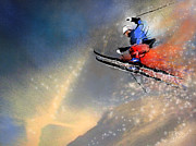 Ski Mixed Media Framed Prints - Skijumping 03 Framed Print by Miki De Goodaboom