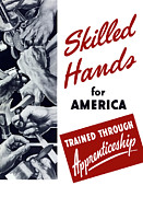 States Mixed Media Metal Prints - Skilled Hands For America Metal Print by War Is Hell Store