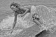 Skim Boarding Framed Prints - Skimmer Girl 3 Black and White Framed Print by Wade Aiken