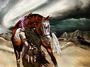 Macabre Digital Art Metal Prints - Skin Horse Metal Print by Mandem