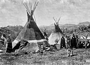 1880s Framed Prints - Skin Tepees, Shoshone Indians. Ca Framed Print by Everett