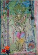 Fabric Mixed Media - Skinny Dipping by A Carole Grant