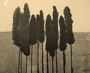 Moonlit Metal Prints - Skinny Trees in Sepia Metal Print by Marsha Heiken