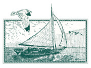 Pen  Drawings - Skipjack by John D Benson
