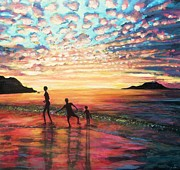 Kids At Beach Prints - Skipping Stones Print by Andria Alex