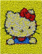 Skittles Candy Framed Prints - Skittles Hello Kitty Mosaic Framed Print by Paul Van Scott