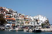 Skopelos Prints - Skopelos Harbour Greece Print by Yvonne Ayoub