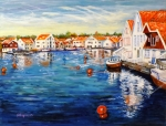 Norway Painting Framed Prints - Skudeneshavn Norway Framed Print by Carol Allen Anfinsen