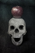 Frightening Posters - Skull And Apple Poster by Joana Kruse