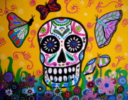 Skulls Paintings - Skull And Butterflies by Pristine Cartera Turkus