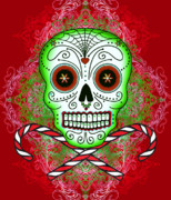 Holidays Digital Art Metal Prints - Skull and Candy Canes Metal Print by Tammy Wetzel
