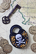 Antique Map Photos - Skull and cross bones lock by Garry Gay