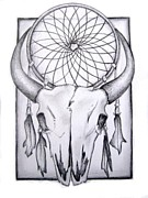 Dreamcatcher Drawings - Skull and Dreamcatcher by Michelle Beaulieu