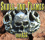 Belt Buckle Jewelry - Skull and Flames by Dire Needz