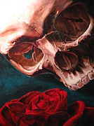 Skull Art - Skull and Rose  by Melissa  Johnson