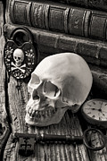 Pocket Watch Glass Acrylic Prints - Skull and skeleton key Acrylic Print by Garry Gay