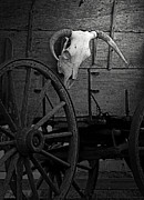 Wood Wheel Prints - Skull And Wagon Print by Al Bourassa