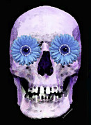 Creepy Digital Art Acrylic Prints - Skull Art - Day Of The Dead 3 Acrylic Print by Sharon Cummings