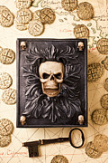 Treasures Photo Prints - Skull box with skeleton key Print by Garry Gay