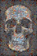 Mosaic Digital Art Prints - Skull Print by Boy Sees Hearts