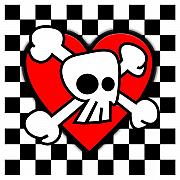 Emo Skull Prints - Skull Checker Heart Print by Roseanne Jones