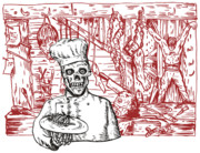 Woodcut Posters - Skull Cook Poster by Aloysius Patrimonio