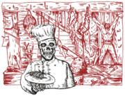 Skull Cook Print by Aloysius Patrimonio