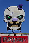 Scary House Prints - Skull Fun House Sign Print by Garry Gay