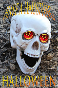 Booo Card Mixed Media Posters - Skull Halloween Card Poster by Debra     Vatalaro