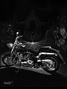 Black And White Drawing Prints - Skull Harley Print by Tim Dangaran