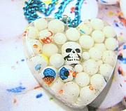 Candy Jewelry - Skull in REAL Mini Jaw Breakers - Heart Necklace by Razz Ace