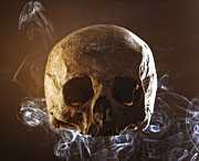 Fright Posters - Skull In The Smoke Poster by Gualtiero Boffi