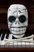 Piano Prints - Skull mask with bones Print by Garry Gay