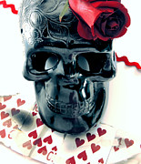Heart Of The Rose Metal Prints - Skull N Rose Metal Print by Gabe Arroyo