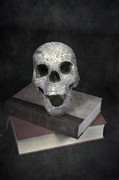 Eerie Prints - Skull On Books Print by Joana Kruse