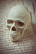 Calligraphy Photo Prints - Skull on old letters Print by Garry Gay