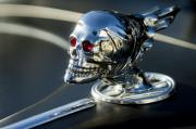 Chrome Skull Framed Prints - Skull Rat Rod Hood Ornament Framed Print by Jill Reger
