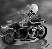 Janet Oh Prints - Skull Rider on Cafe Sportster Print by Janet Oh