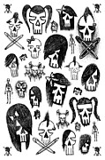 Emo Skull Prints - Skull Sketches 5 of 6 Print by Roseanne Jones