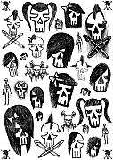 Gothic Drawings Prints - Skull Sketches Print by Roseanne Jones