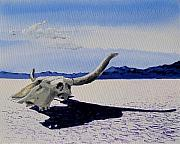 Desert Lake Painting Posters - Skull Poster by Steve Beaumont