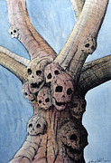 Amazing Drawings Acrylic Prints - Skull Tree Acrylic Print by Anthony Nold