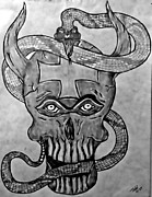 Fangs Drawings Posters - Skull-Untitled Poster by Todd Androy