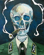 Smiling Painting Posters - SKULL with CIGAR Poster by Fabrizio Cassetta
