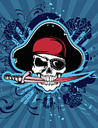 Biting Posters - Skull With Pirates Hat, Eyepatch And Sword Poster by New Vision Technologies Inc